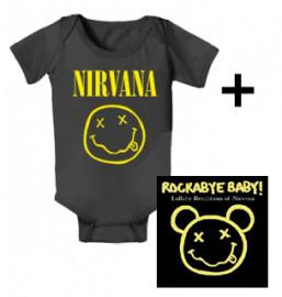 Giftset Nirvana Baby Grow Smiley & Nirvana Rockabyebaby CD