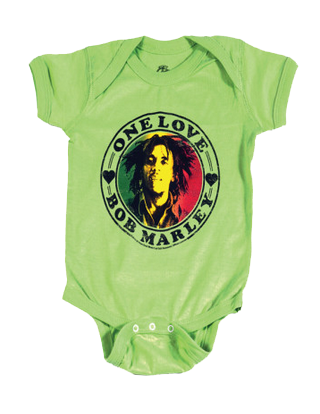 Bob Marley Baby Grow One Love Lime