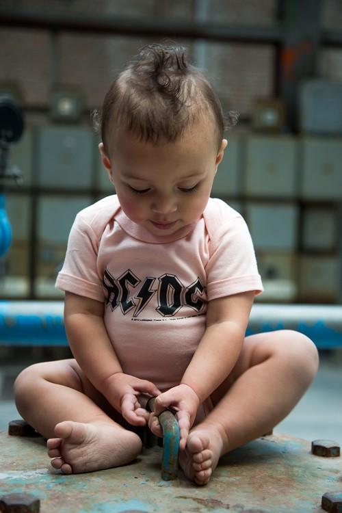 AC/DC Baby Grow Logo Pink photoshoot