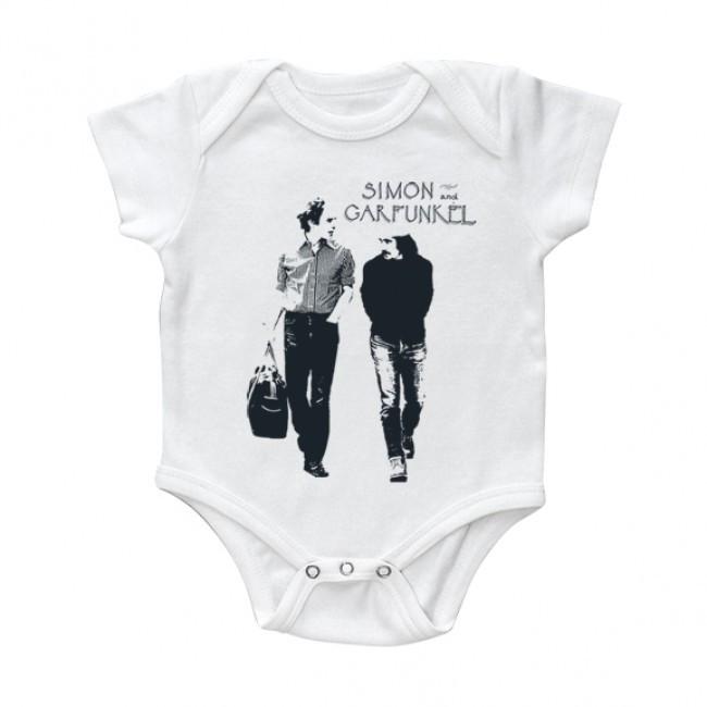 Simon and Garfunkel Baby Onesie Walking White