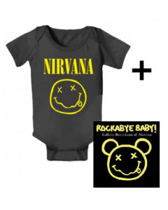 Baby rock giftset Nirvana Baby Grow Smiley & Nirvana Rockabyebaby CD