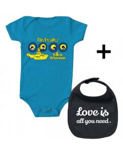 Infant Giftset Beatles Creeper infant/baby Portholes & Love is all you Need Bib