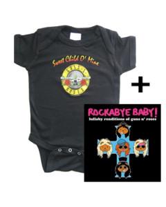 Baby rock giftset Guns and Roses Baby Grow & Guns and Roses Rockabyebaby cd