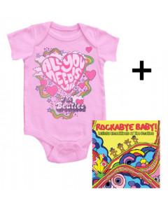 Baby rock giftset Beatles Baby Grow All You Need & cd